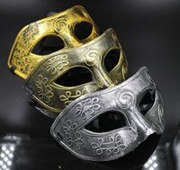 Wholesale Masquerade Halloween Costume - Retro Greco-Roman Mens Mask Mardi Gras Masquerade Halloween Costume Party Half Face MASKS