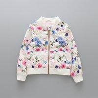 Wholesale Wholesale Baseball Uniforms Jackets - New Cute Girls Floral Windcoat Coats Children Clothing Long Sleeve Flower Baseball Uniform Girl's Outwear Flower Coat Kids Jackets A7455