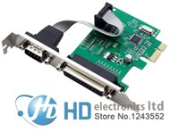 Wholesale Db25 Rs232 Cable - Wholesale- RS232 RS-232 Serial Port COM & DB25 Printer Parallel Port LPT to PCI-E PCI Express Card Adapter Converter WCH382 Chip