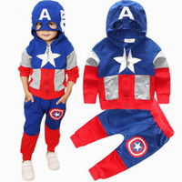Wholesale Boys Super Hero Costumes - Super Hero Cosplay Set For Boy Clothing The Avengers Captain America Children Hooded Mask Jacket+Sport Casual Trouser Pant 2pc Costume