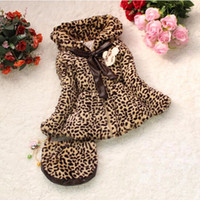 Wholesale Baby Girls Winter Jacket - Baby girls coat girls winter fur coat new Girl leopard kids jacket children outerwear with handbag