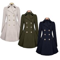 Wholesale Trench New Fashion - 2016 Abrigos Mujer Long Full Solid Top Fashion Double Breasted Woolen Casaco Feminino Trench The New For Ljc Windbreaker Slim