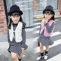 Wholesale Elegant Baby Outfit - Elegant Baby Kids Clothing High Quality Girls Outfits Girl Long Sleeve Striped Dress + Pearls Waistcost 2pcs Cute Clothing Sets Clothes 9491