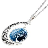 Wholesale Vintage Sterling Chain - Fashion Glass Moon Statement Necklace Vintage Sterling Silver Jewelry Life Tree Pandent Necklace for Women free shipping