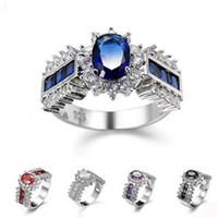 Wholesale Rainbow Crystal Gemstone - 10pcs Holiday Gift Fire Rainbow Oval Black Onyx Blue Purple Cubic Zirconia Crystal Gemstone Russia 925 Sterling Silver Wedding Rings