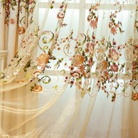 Wholesale Beautiful Curtains Wholesale - Pastoral Chenille Embroidered Curtain Living Room Bedroom Curtains Beautiful Flower Embroidery Window Drapes Wholesale Per Meter #Gauze