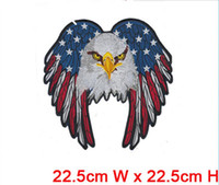 Wholesale Patch Professionals - good quality big size eagle professional computer embroidery patch&badge hot cut border Iron on backing accept customised
