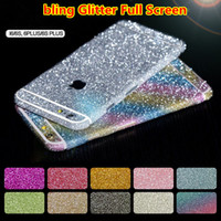 Wholesale Iphone 4s Back Stickers - Full Body Sticker Bling Skin Cover Glitter Diamond Front Sides and Back Screen Protector For iphone 6 plus 5S 4S 5c samsung note4 5 s6 s7