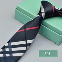 krawatten marken großhandel-Herren Accessoires Plaid Polyester Krawatten für Männer Marke Krawatten Business Skinny Grooms Krawatte für Hochzeit Anzug Shirt