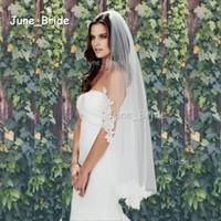 Wholesale Alencon Lace Tulle - Elegant Fingertip Length Veil Alencon Lace Crescent Lace Edge Mantilla Bridal Veil Wedding Accessory White Ivory One Layer Wedding Accessory