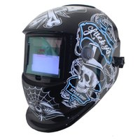 Wholesale Auto Welding Mask - Black skull Solar auto darkening electric welding mask welding helmet welder cap with polish grindind for welding machine and plasma cutting