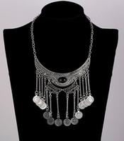 Wholesale Turquoise Necklace Black Flower - Fashion Bohemian Vintage Necklace Antique Silver Turquoise Jewelry Wholesale Long Tassel Collar Statement Necklaces for Women