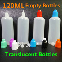 Wholesale Ml Empty Bottle - 120ml E Liquid bottle PE Translucent Empty E-Juice Needle LDPE 120 ml Plastic Bottles with Child Proof Caps Long Thin Needle Tips DHL