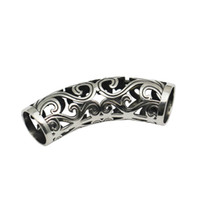Wholesale Metal Tube Spacer - Beadsnice 925 Sterling Silver Tube Beads Long Tube Spacer Beads Large Hole Filigree Curved Metal Tube Beads ID 34507