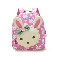 Wholesale Toddlers Fabric Backpack - Lovely Cute Kids School Bags Rabbit Bear Dolls Applique Canvas Backpack Mini Baby Toddler Book Bag Kindergarten Rucksacks BP820
