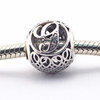 Wholesale Spiked Vintage - Vintage G Clear CZ 07 100% 925 Sterling Silver Beads Fit Pandora Charms Bracelet Authentic DIY Fashion Jewelry