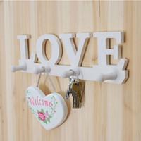 Wholesale Loves Plastic Hooks - Wholesale- 4 Hooks White LOVE Shape Design Coat Hat Key Storage Holder Rack Wall Hanger Home Door Decor