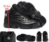 basketbol göz toptan satış-En iyi Kalite 13 Tüm Siyah 3D Göz Siyah Metalik 13 s adam basketbol ayakkabı Erkekler sz 41 47 Kutu Ile ücretsiz kargo