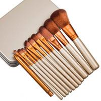 pinceau de maquillage en étain achat en gros de-CHAUD! Le nouveau maquillage de mode brosse 12pcs Professional Brush Tin Box