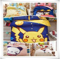 Wholesale Cotton bedding Pikachu Bedding sets cm Sheet Pillow Cartoon Bedroom sets For kids and Adult A0330