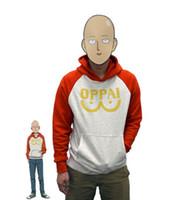 trajes de cosplay de anime meninos venda por atacado-Atacado-One Soco Man Hero Saitama Oppai Moletom Com Capuz Cosplay Com Capuz Moletons Para O Menino