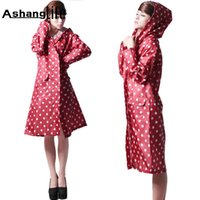 Ashanglife Hot Selling Raincoat Mulheres Polka Dots Viagens ao ar livre Impermeável Riding Clothes Raincoat Poncho Hooded Knee
