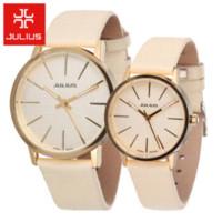 quarz analog uhren korea großhandel-2015 heiße korea julius männer frauen leder armbanduhren männer oder damenuhren casual analog japan quarzuhr relogio feminino