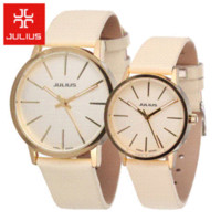 Wholesale Julius Leather Wristwatch - 2015 hot Korea Julius Men Women leather wristwatches men or ladies watches casual analog Japan quartz watch relogio feminino