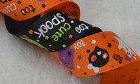 Wholesale halloween grosgrain ribbon wholesale - Width 25mm orange white background pumpkin and spider pattern printed grosgrain tape Halloween ribbon for party 100 yards = 1 piece