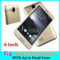 "Wholesale Dual Sim Phone G4 - MTK6572 Dual Core 6"" Smartphone G4 Dual SIM 3G WCDMA Unlocked Android 4.4 512MB 4GB Mobile phones Smart Wake-up Gold Free DHL"