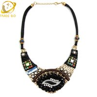Wholesale Vintage Ethnic Sweater - Wholesale-New Elegant Fashion Jewelry Necklace Ethnic Eye Shape Vintage Colorful Statement Pendant Necklaces Women Sweater Accessories