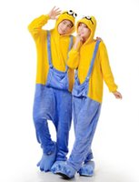 Wholesale Hot Minion Costume - 2016 Hot Sale New Hoodies Adults Minions Onesie Women Men Anime Cartoon Cosplay Costumes Party Dress Sleepwear