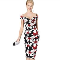 Wholesale Womens Sexy V Neck Summer Elegant Off Shoulder Floral Flower Print Casual Party Club Evening Bodycon Sheath Dress DK4472XL