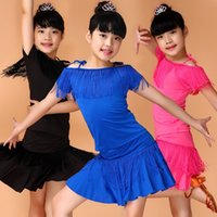 Wholesale Children Dance Latin Costume - High quality 2016 New Summer children Latin Dance skirt Children's costume fringed Dress stitching 100% Real description Factory Wholesale
