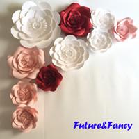 Wholesale Giant Flower Decoration - 10pcs Mix Colors Giant Paper Flowers For Wedding Backdrops Decorations Kid's Room Deco Showcase Windows Display Deco Mix Flower Styles