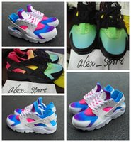Wholesale Rainbow 45 - Wholesale Huaraches Rainbow New Color Runing Shoes For Men Women Fashion Air Huarache Breathable Sneakers Size Eur 36-45 Huarache
