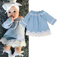 Wholesale Baby Floral Jeans - New Children's Clothing Washed Denim Kids Jeans Flat shoulder Dress Lace Dresses Baby Girls's Cowboy Party Dress