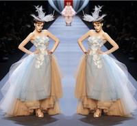 schicht sexy kleid großhandel-Runway Fashion Grau Und Champagner Puffy Prom Kleider 2017 Sexy Trägerlosen Applique Schichten High Low Abendkleider Backless Formale Party Kleid