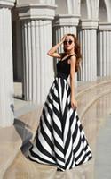 gerisiz çizgili maxi elbise toptan satış-Çizgili maxi elbise backless elbise yaz elbiseler örgün elbiseler akşam Seksi Kadınlar Stripes Uzun Maxi Abiye