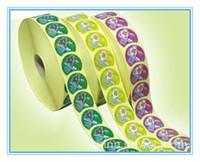 etiquetas redondas al por mayor-Etiqueta engomada adhesiva del embalaje del rollo redondo personalizado etiqueta engomada del vinilo del color impreso