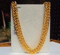 14k schwere goldketten großhandel-SOLID HEAVY 14K GELB GOLD FINISH 11mm 24 ZOLL RAPPERS MIAMI CUBAN LINK KETTE Halskette 100% echtes Gold, nicht fest, kein Geld.
