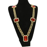 Wholesale Long Chained Gemstone Necklace - Exaggerated Heavy Extra-coarse MIAMI CUBAN LINK Red Gemstone Pendant Long Chains Necklace Men Trendy Hip Hop Diamante Joyas 76cm Gold Silver