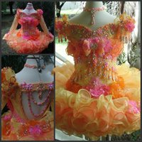 ingrosso fiori di perline di corallo-2017 Colorful Cute Coral Pink Girls Pageant Dresses Bambine Cupcake Pageant Cap maniche Organza Perline di cristallo Mini Abiti da ragazza di fiori