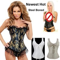 Wholesale Black Satin Overbust Boned Corset - Free Shipping 2014 Women Steel Boned Corset Overbust Tops With Shoulder Straps Spanish Vine Lurex Embroidered Lace Up 2015 Waist Cincher 621