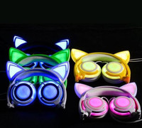 Wholesale Purple Pc Headset - New Foldable Flashing Glowing Cute Cat Ear Headphones Gaming Headset Earphone with LED light For PC Laptop Computer Mobile Phone