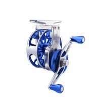 gaucher creux achat en gros de-12pcs / Lot 55mm (2.2in) 3BB 3: 1 CNC aluminium pêche à la mouche moulinet creux argent bleu fashionalbe pêche à la mouche moulinet gauche / droite
