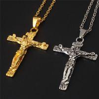 croix religieuses en titane achat en gros de-Crucifix Croix Pendentif Collier Bracelet Pistolet Plaqué En Acier Inoxydable De Mode Religieux Bijoux Pour Femmes / Hommes Foi Collier En Gros