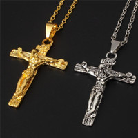 Wholesale titanium cross necklaces for men - Crucifix Cross Pendant Necklace Bracelet Gun Plated Stainless Steel Fashion Religious Jewelry For Women Men Faith Necklace Wholesale