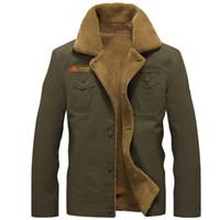 Wholesale Mens Pilot Jacket Fur - Winter Bomber Men Air Force Pilot MA1 Jacket Warm Male fur collar Army Jacket tactical Mens Jacket
