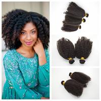 en iyi kıvırcık saç paketleri toptan satış-En Kaliteli Brezilyalı afro kinky kıvırcık Saç örgüleri Hint İnsan Saç paket Çift Atkı G-EASY